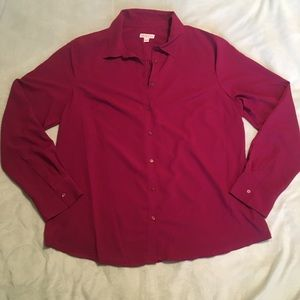 Magenta Button Down Blouse